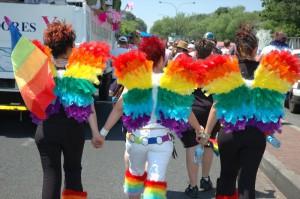 Lesbians at a Pride parade